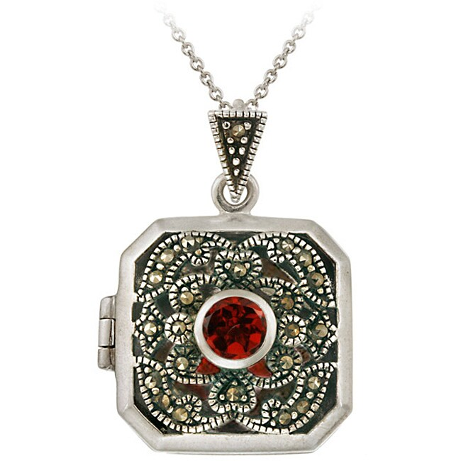 Glitzy Rocks Sterling Silver Marcasite/ Garnet Square Locket Necklace - Thumbnail 0