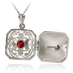 Glitzy Rocks Sterling Silver Marcasite/ Garnet Square Locket Necklace - Thumbnail 1