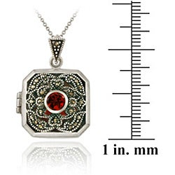 Glitzy Rocks Sterling Silver Marcasite/ Garnet Square Locket Necklace - Thumbnail 2