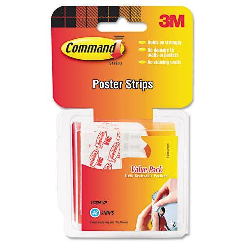 3M Command Poster Adhesive Strip Value Pack (Pack of 48 Strips)