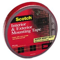 Scotch Exterior Weather-Resistant Double-Sided Tape, Gray with Red Liner