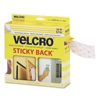 "Velcro Sticky-Back Hook & Loop Roll with Dispenser, 3/4"" x 30-ft, White"