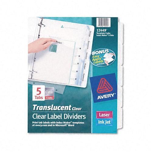 shop avery index maker clear 5 tab set of label dividers case of 5