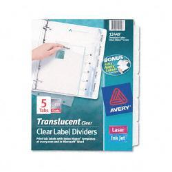 Avery Index Maker Clear 5-Tab Set of Label Dividers (Case of 5 Sets)