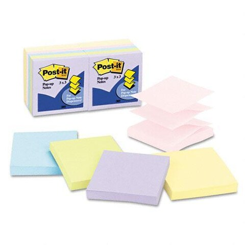 Post-it 3 x 3 Pastel Pop-Up Note Refills, 100-Sheet Pads (Pack of 12)