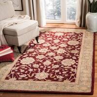 Safavieh Handmade Anatolia Oriental Red/ Green Hand-spun Wool Rug - 4' x 6'
