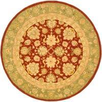 Safavieh Handmade Anatolia Oriental Red/ Green Hand-spun Wool Rug - 6' x 6' Round