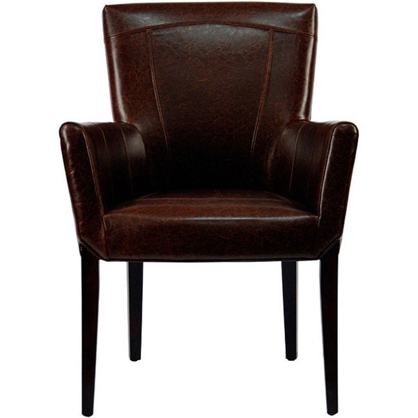 Safavieh En Vogue Dining Ken Bicast Leather Arm Chair Brown
