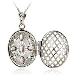 Glitzy Rocks Sterling Silver Marcasite and Amethyst Oval Locket Pendant