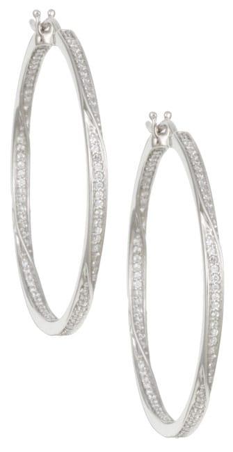 Unending Love Sterling Silver 1/2ct TDW Diamond Round Hoop Earrings (I-J, I3)