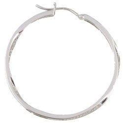 Unending Love Sterling Silver 1/2ct TDW Diamond Round Hoop Earrings (I-J, I3) - Thumbnail 1