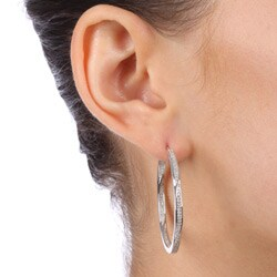 Unending Love Sterling Silver 1/2ct TDW Diamond Round Hoop Earrings (I-J, I3) - Thumbnail 2