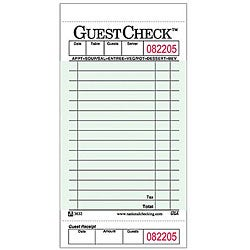 National Checking Company 3 5/16-in X 6-in Green Guest Check (Case of 50)