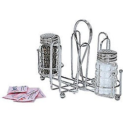 Admiral Chrome Salt and Pepper Shaker and Sugar Packet Rack