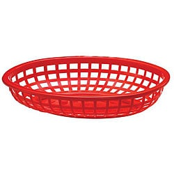 Tablecraft Red Medium Plastic Oval Baskets (Case of 36)