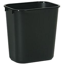 Rubbermaid Commercial 41 Quart Black Rectangular Wastebasket