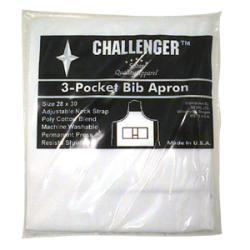 Challenger White Adjustable Three Pocket Apron
