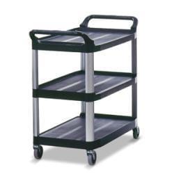 Rubbermaid Black 3-shelf 40-5/8-inch Wide x 20-inch Deep x 37-13/16-inch High Open Sided Utility Cart