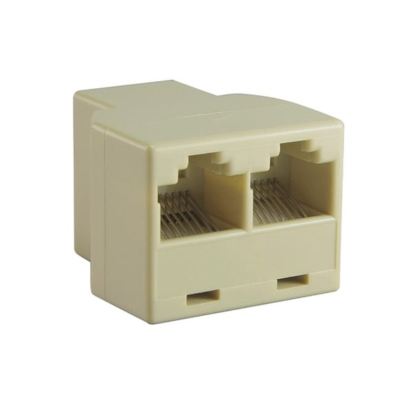 INSTEN RJ45 Light Beige 1x2 Ethernet Connector Splitter