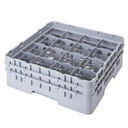 Cambro 16 Compartment Gray Camrack with 4 Extenders