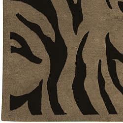 Hand-tufted Contemporary Brown Zebra Current New Zealand Wool Rug (5' x 8')