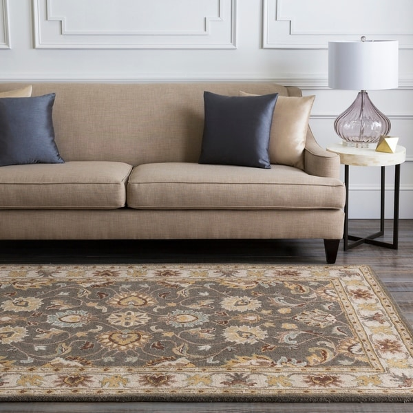 Hand-tufted Coliseum Gray Traditional Border Wool Area Rug - 6' x 9'