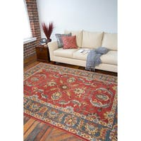 Hand-tufted Coliseum Rust Traditional Border Wool Area Rug - 6' x 9'