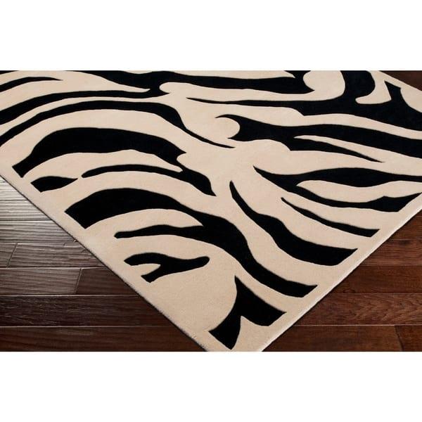 Hand Tufted Black White Zebra Animal Print New Zealand Wool Area Rug 7 9 Round