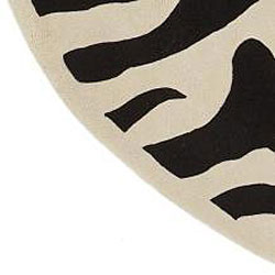 Hand-tufted Black/White Zebra Animal Print New Zealand Wool Rug (7'9 Round)