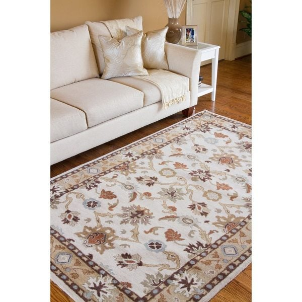 Hand-tufted Traditional Coliseum Vanilla Floral Border Wool Rug (6' x 9')