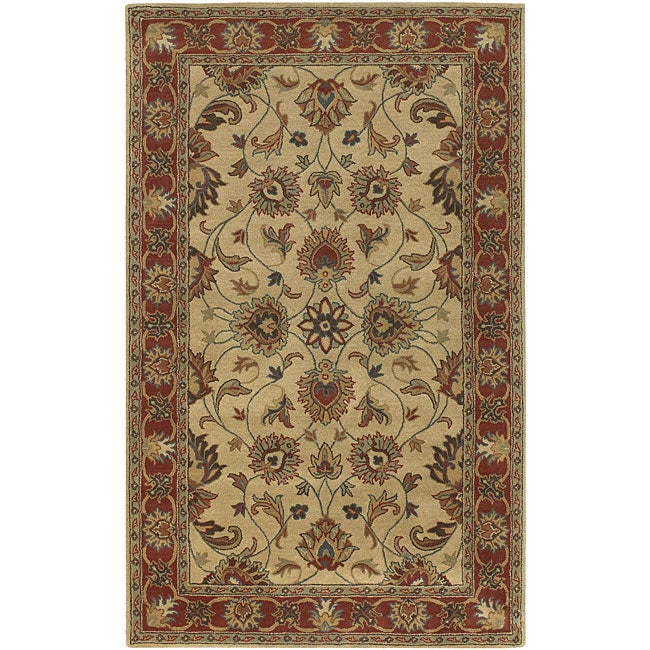 Hand-tufted Coliseum Beige/Red Traditional Border Wool Rug (6' x 9')