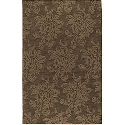 Hand-crafted Solid Brown Damask Mesa Wool Rug (8' x 11')