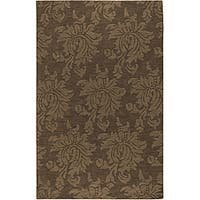 Hand-crafted Solid Brown Damask Mesa Wool Area Rug (8' x 11') - 8' x 11'