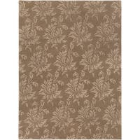Hand-crafted Solid Brown Damask Mesa Wool Area Rug - 8' x 11'