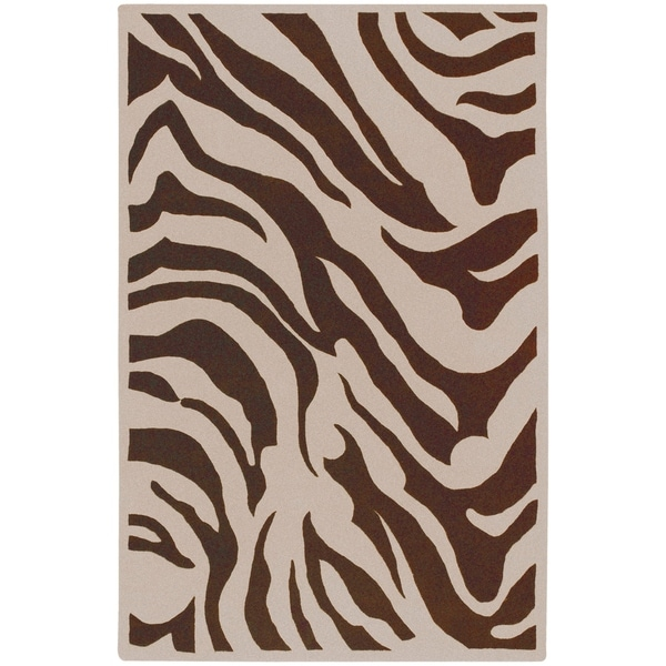 Hand Tufted Brown White Zebra Animal Print Cur Wool Area Rug 5