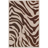 Hand-tufted Brown/White Zebra Animal Print Current Wool Area Rug - 5' x 8'