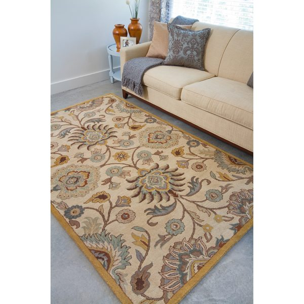 Shop Beige Wool Hand Knotted Oriental Persian Area Rug 6: Shop Hand-tufted Coliseum Beige Floral Wool Area Rug
