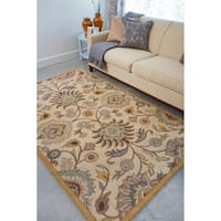 Hand-tufted Coliseum Beige Floral Wool Area Rug - 9' x 12'