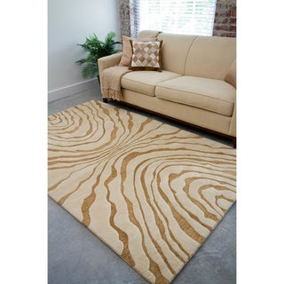 Hand-tufted Contemporary Beige Spirit New Zealand Wool Abstract Rug (5' x 8')