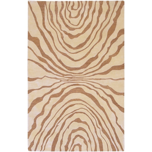 Hand-tufted Contemporary Beige Spirit New Zealand Wool Abstract Area Rug - 5' x 8'