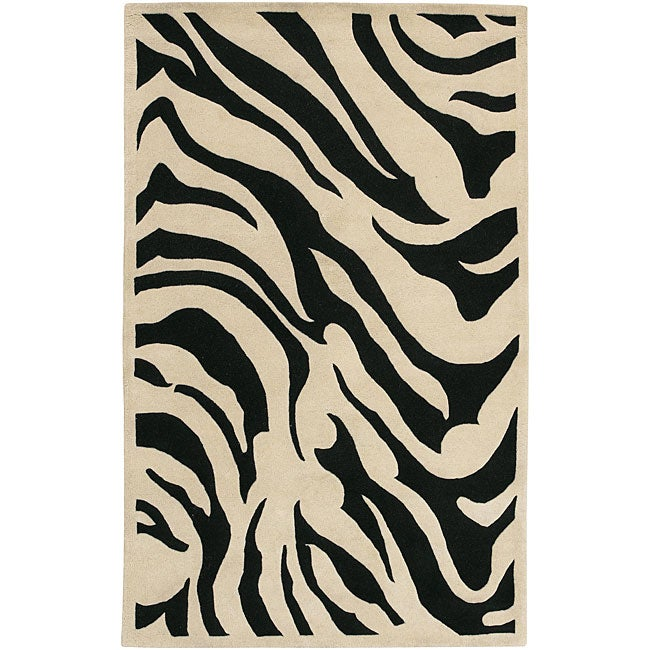 Hand-tufted Black/White Zebra Animal Print New Zealand Wool Rug (9' x 13') - Thumbnail 0