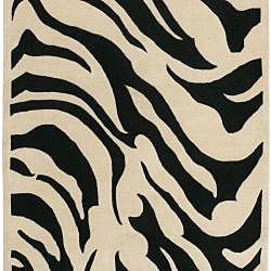 Hand-tufted Black/White Zebra Animal Print New Zealand Wool Rug (9' x 13') - Thumbnail 1