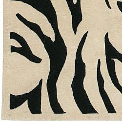 Hand-tufted Black/White Zebra Animal Print New Zealand Wool Rug (9' x 13') - Thumbnail 2