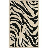 Hand-tufted Black/White Zebra Animal Print New Zealand Wool Area Rug (9' x 13')