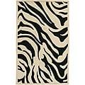 Hand-tufted Black/White Zebra Animal Print New Zealand Wool Area Rug - 9' x 13'