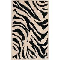 Hand-tufted Black/White Zebra Animal Print New Zealand Wool Area Rug - 9' x 13'
