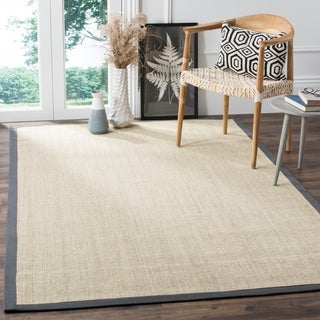 Safavieh Casual Natural Fiber Marble and Grey Border Sisal Rug (6' x 9')