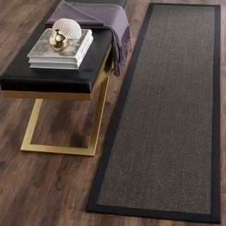 Safavieh Casual Natural Fiber Hand-Woven Serenity Charcoal Grey Sisal Rug (2'6 x 8')