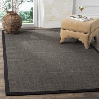 Safavieh Casual Natural Fiber Charcoal and Charcoal Border Sisal Rug (3' x 5')