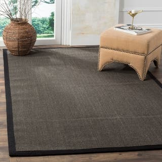 Safavieh Casual Natural Fiber Charcoal And Border Sisal Rug 3 X